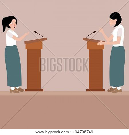 two high school girl debate on stage podium public speaking contest presentation vector