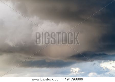Dramatic Sky Background. Stormy Clouds in Dark Sky. Moody Cloudscape.