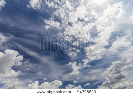 Dramatic blue sky with puffy white clouds in bright clear spring day.