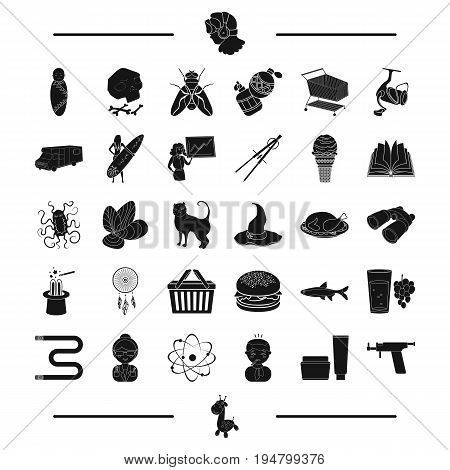 temperature, cream and other  icon in black style. tattoo, typewriter, giraffe, toy icons in set collection.