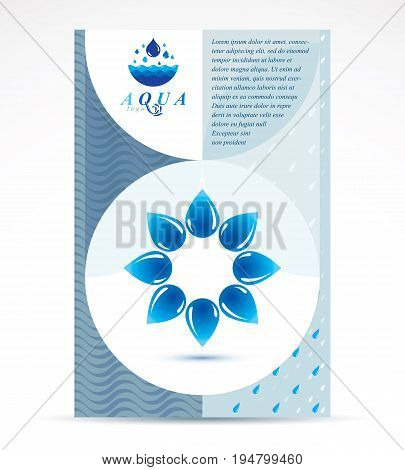 Water treatment company presentation flyer. Graphic vector illustration. Vector blue clear water drops.