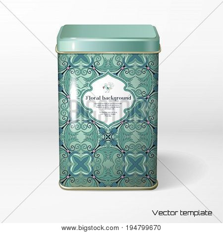 Vector object. Square tin packaging. Tea coffee dry products. Floral pattern. Fantasy flowers with leaves. Decorative bird pecks berries. Figured frame for your text.