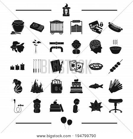 circus, magic, plumbing and other  icon in black style.medicine, equipment icons in set collection.