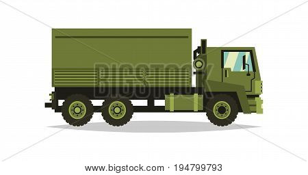 Military truck. Transport carriage of soldiers. The car involved in the fighting. Special equipment. Diesel. Vector illustration. Flat style.