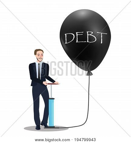 debt problem concept of pumping baloon economic problem bubble financial inflation collapse vector