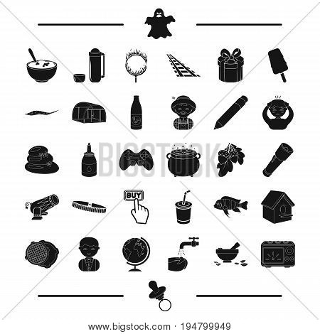 appliance, nipple and other  icon in black style. circus, purity, magic icons in set collection.
