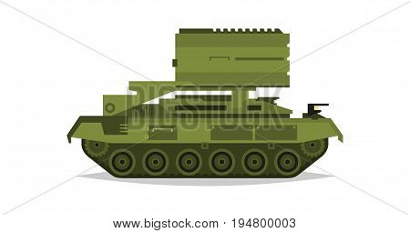 Multiple launch rocket systems. Military equipment. Special transport. Missiles, bombs, destruction of the enemy. All Terrain Vehicle, an armored corps. Vector illustration.