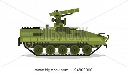 Self-propelled anti-tank missile system. Research, inspection, optical review, missiles, air attack. Equipment for the war. All Terrain Vehicle, heavy machinery. Vector illustration.