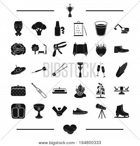 dessert, gynecology, vegetable and other  icon in black style. entertainment, mine, mining icons in set collection.