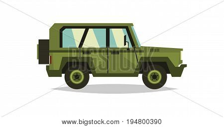 Military car. Transportation soldiers. Special equipment. Diesel. Vector illustration flat style