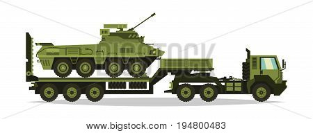 A military truck carries an armored personnel carrier on the trawl. Military equipment. Special transport. cargo delivery. Combat vehicles. The road to war. Guns, ammunition. Vector illustration.