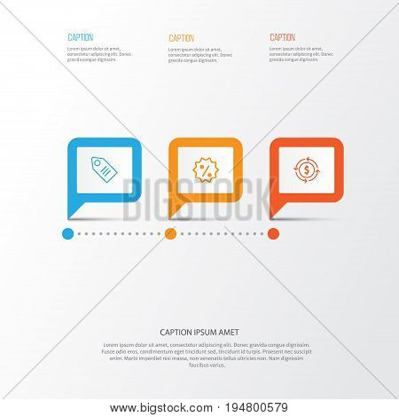 E-Commerce Icons Set. Collection Of Rebate Sign, Finance, Ticket And Other Elements. Also Includes Symbols Such As Badge, Exchange, Tag.
