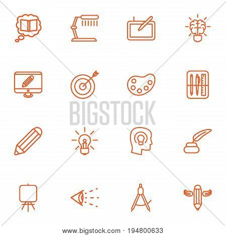 Set Of 16 Constructive Outline Icons Set.Collection Of Drawing Tools, Idea, Target And Other Elements.