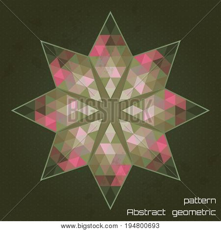 Abstract vector round pattern. Multicolored triangles and stains. Seamless simple background.