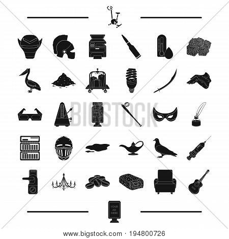 advertisement, weather and other  icon in black style.baseball, dessert, food icons in set collection.