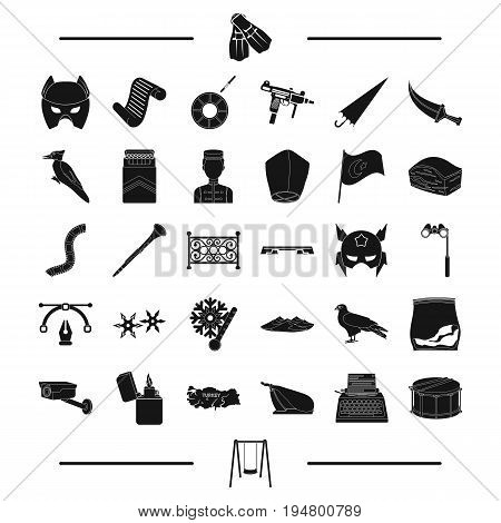 hotel, travel, weather and other  icon in black style. drug, drum, swing icons in set collection.