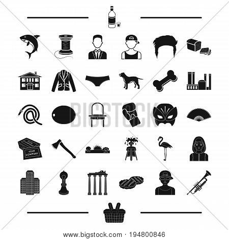 architecture, animal, atelier and other  icon in black style.Sports, appearance, drugs icons in set collection.