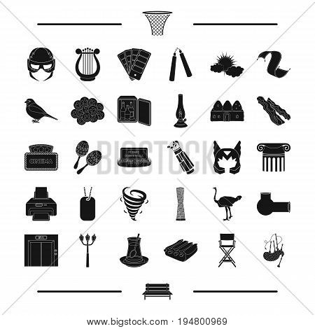, theater, weather, golf and other  icon in black style.architecture, food icons in set collection.