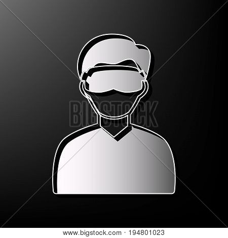 Man with sleeping mask sign. Vector. Gray 3d printed icon on black background.