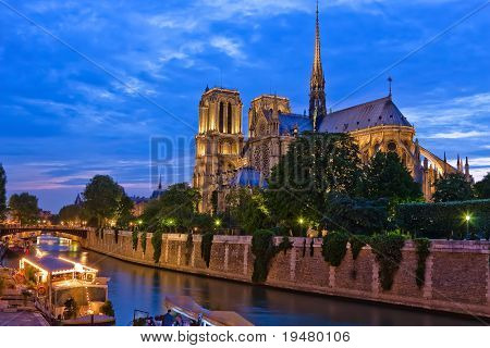 Notre Dame de Paris at night, Paris, France