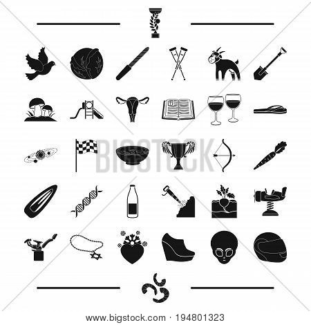 gynecology, reward, space and other  icon in black style. mine, shoes, entertainment icons in set collection.