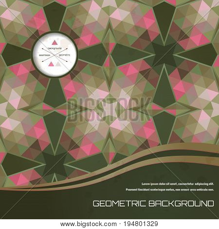 Abstract vector card. Multicolored triangles and stains. Place for your text. Perfect for greetings invitations announcements or cover design.