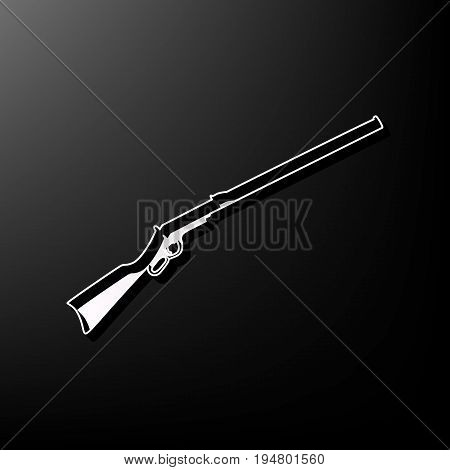 Hunting rifle icon vector illustration. Silhouette gun. Vector. Gray 3d printed icon on black background.