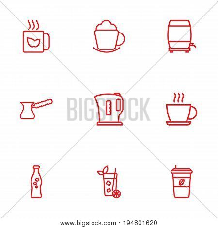 Set Of 9 Drinks Outline Icons Set.Collection Of Soda, Hot Drink, Kettle And Other Elements.
