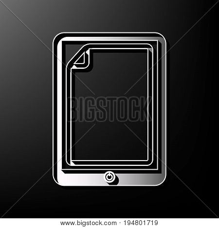 Protective sticker on the screen. Vector. Gray 3d printed icon on black background.