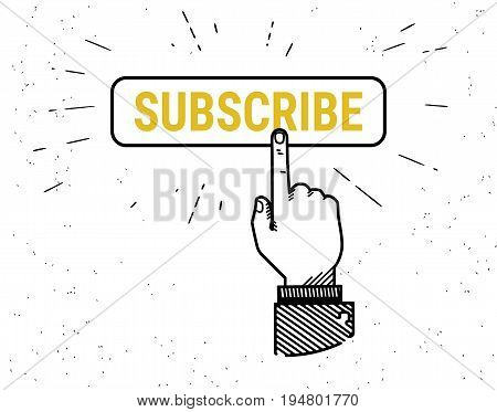 Human hand leaving five stars rating. Retro fashioned vector illustration of human forefinger increasing rating stars with text rate on grunge background.