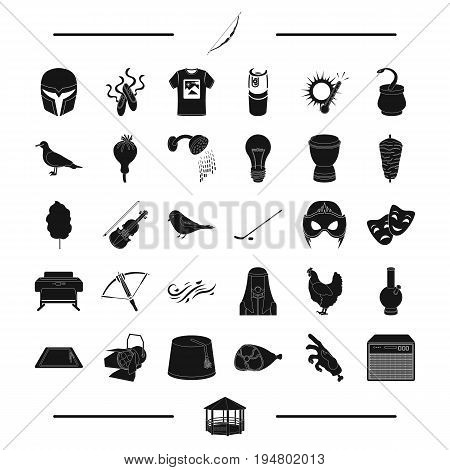 cinema, weather, equipment and other  icon in black style.hotel, Egypt, theater, animal, food icons in set collection.