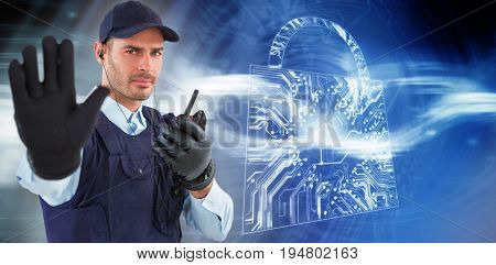 Confident security officer making stop gesture against virus background