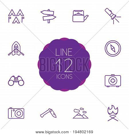 Set Of 12 Picnic Outline Icons Set.Collection Of Photographing, Guidepost, Binoculars And Other Elements.