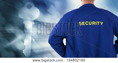 Rear view of security officer in uniform against virus background