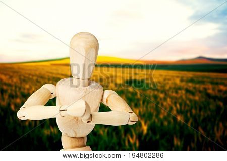 Close up of 3d wooden figurine kneeling with both hands joined against scenic view of wheat field