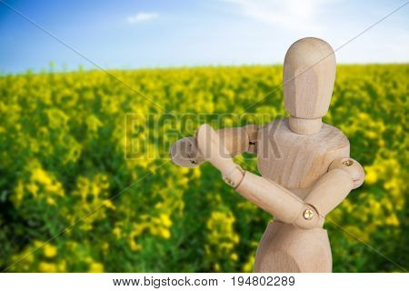 Wooden 3d figurine performing yoga against yellow mustard field