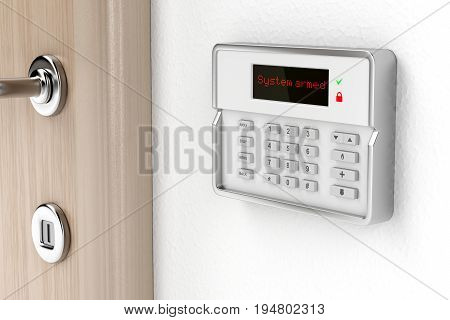Alarm control panel on the wall, 3D illustration