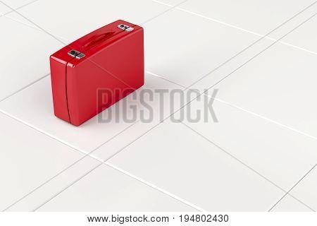 Red suitcase on tile floor, 3D illustration