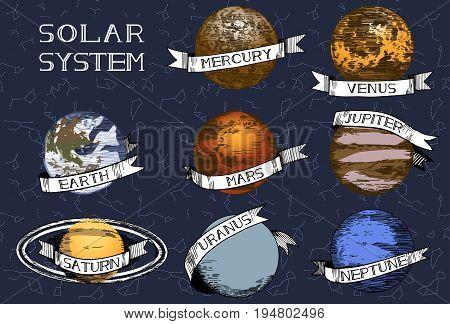 Vector illustration of solar system planets set. Mercury Venus Earth Mars Saturn Jupiter Uranus Neptune. Hand drawn colored illustration.