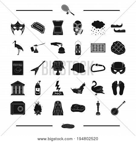 figurine, banjo, lake and other  icon in black style. theater, travel, cinema icons in set collection.