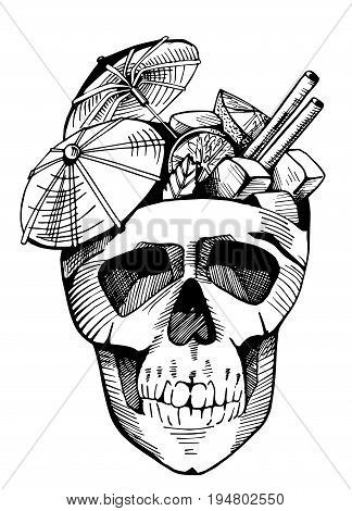 Cuba libre with paper umbrellas in a skull. Cocktail party emblem vintage hand-drawn style.