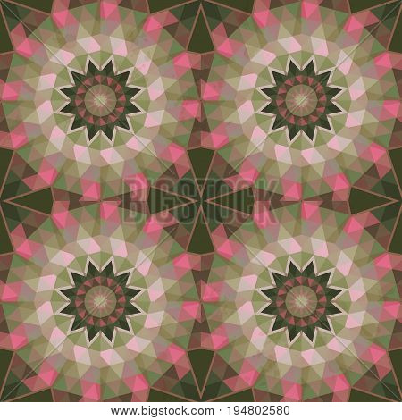 Abstract vector seamless background with round pattern. Multicolored triangles and stains.