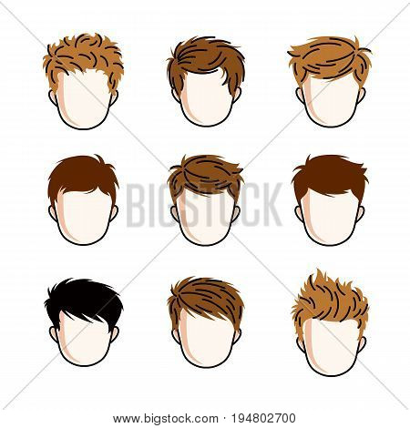 Set of boys faces human heads. Different vector characters like redhead and brunet toddlers cute teenagers collection.