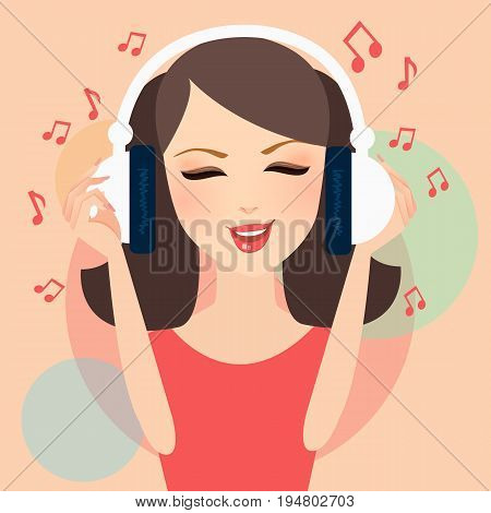 girl listening to music in headphone young female pretty with musical notation fly around vector