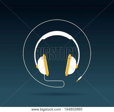 Audio headphone icon isolated on dark color background