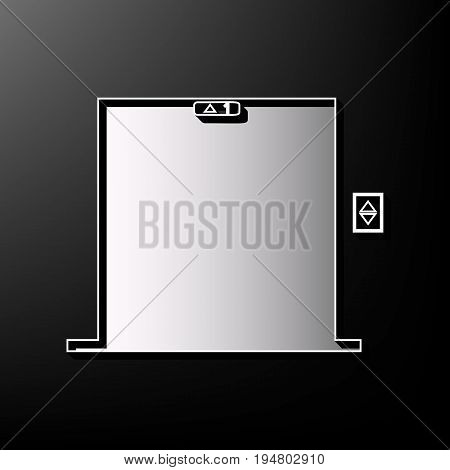 Elevators door sign. Vector. Gray 3d printed icon on black background.