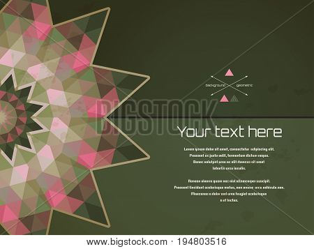 Abstract horizontal vector card with round pattern. Multicolored triangles and stains. Place for your text. Perfect for greetings invitations announcements or cover design.