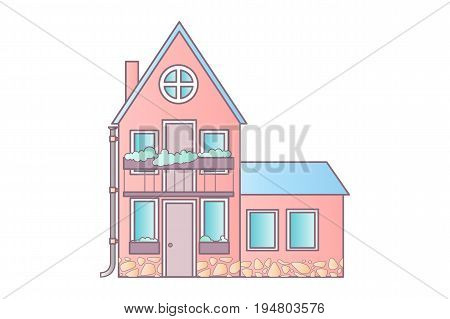 Detailed colorful cottage house. Flat style modern building.