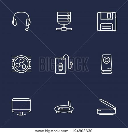 Set Of 9 Notebook Outline Icons Set.Collection Of Monitor, Server, Floppy And Other Elements.