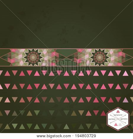 Abstract seamless vector background and border. Multicolored triangles and stains.